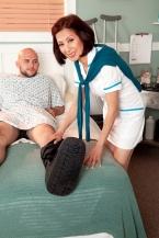 Nurse Kim heals the sick, shags the humongous hard-on