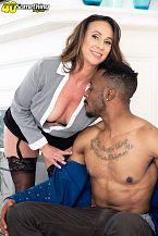 Raelynn sucks and shags a large, dark-skinned cock